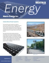 Stand Alone Power Systems Canada - Matrix Energy