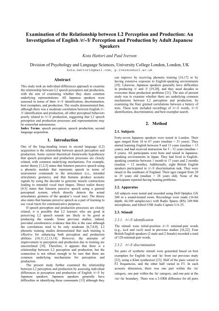 Examination of the Relationship between L2 Perception and ...