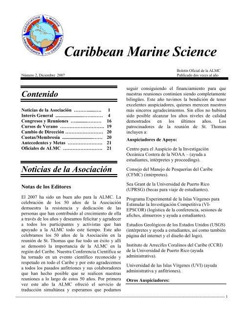 Caribbean Marine Science - The Association of Marine