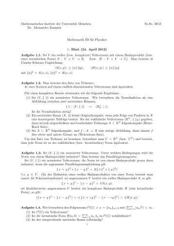 Mathematisches Institut der Universität München Dr. Alessandro ...