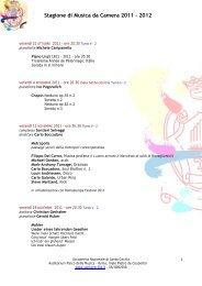 Stagione di Musica da Camera 2011 - 2012 - Accademia Nazionale ...