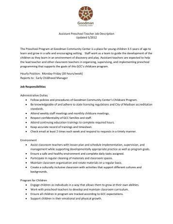 job description preschool pre kindergarten teacher the