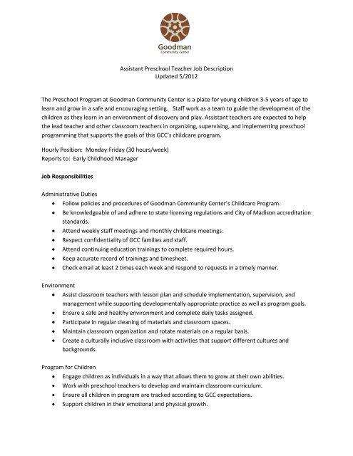 Assistant Preschool Teacher Job Description Updated 5 2012 The