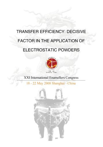 transfer efficiency - IEI, International Enamellers Institute