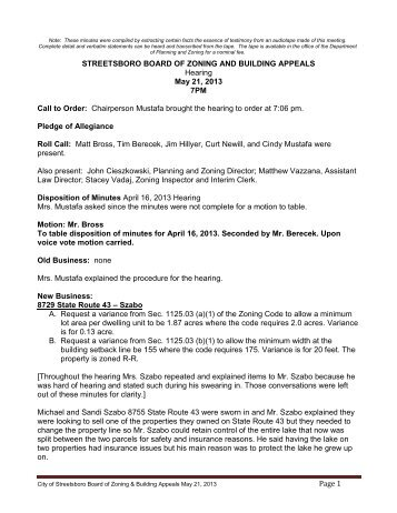 STREETSBORO BOARD OF ZONING AND BUILDING APPEALS
