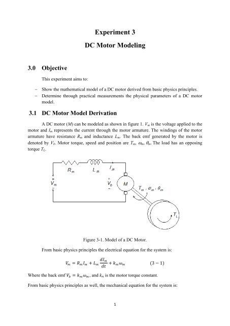 Experiment 3 DC Motor Modeling 3 0 Objective
