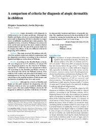 A comparison of criteria for diagnosis of atopic dermatitis ... - Springer