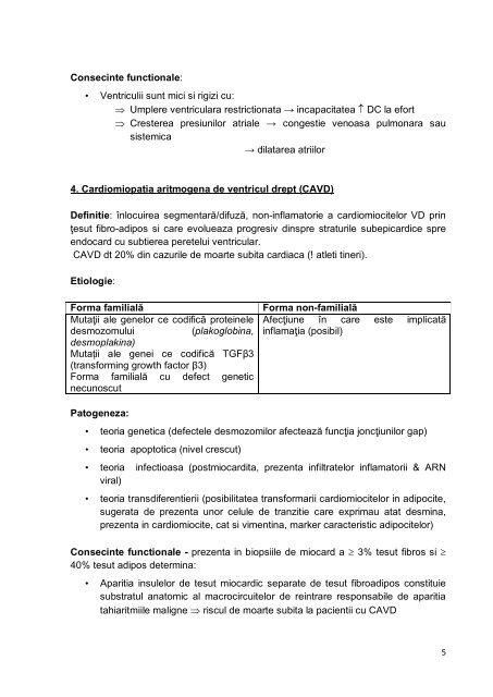 CURS 5 FIZIOPATOLOGIA CARDIOMIOPATIILOR ... - Fiziopatologie