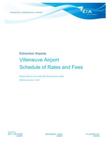 Villeneuve Airport Schedule of Rates and Fees - EIA Corporate