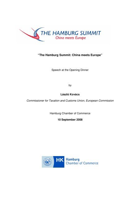 Speech by the Commissioner for Taxation and ... - Hamburg Summit