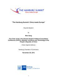 Keynote speech by Wan Gang, Vice Chair of the ... - Hamburg Summit