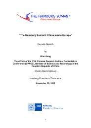 Keynote speech by Wan Gang, Vice Chair of the ... - Hamburg Summit