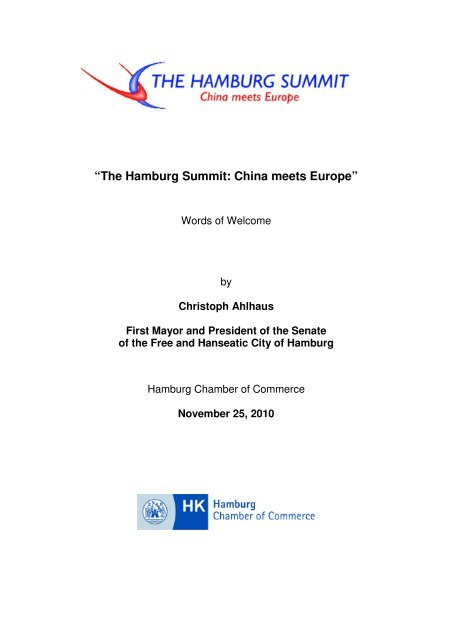 Words of Welcome by the First Mayor and ... - Hamburg Summit