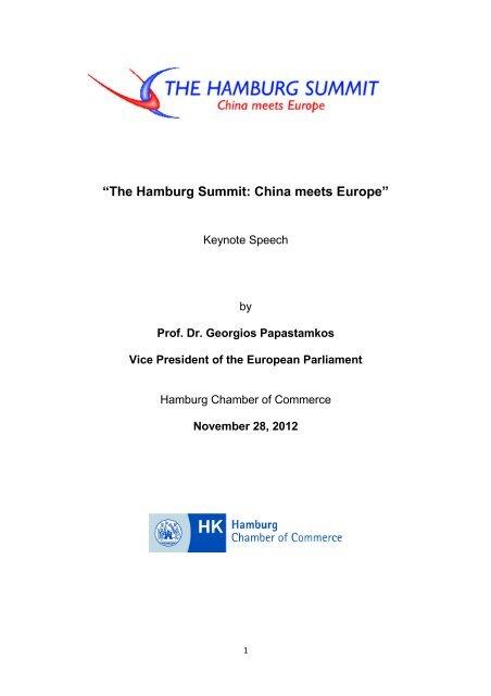 Keynote speech by Prof. Dr. Georgios ... - Hamburg Summit