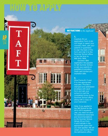 how to Apply - The Taft School
