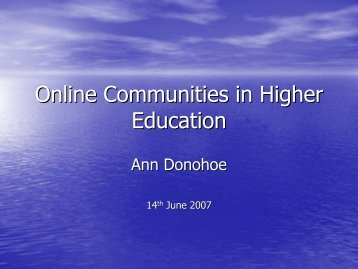 Online Communities in Higher Education - StudyNet