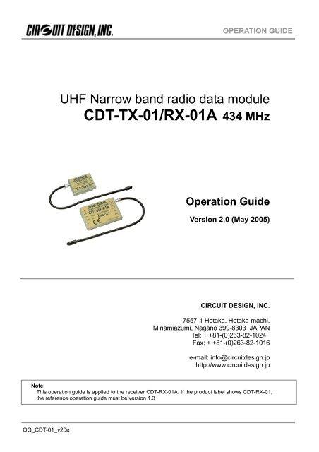 CDT-TX-01/RX-01A 434 MHz - Circuit Design INCYumpu