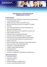 Anforderungs- und Kompetenzprofil GeMax-Berater & Coach