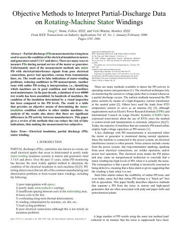 Objective Methods to Interpret Partial-Discharge Data on Rotating ...