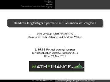 See slides in German - MathFinance