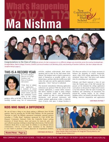 09 Newsletter (part 1) - New Community Jewish High School