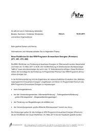 Informationen und Hinweise der KfW zu den neuen Richtlinien
