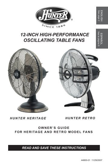 Parts guide casablanca fan for 12 inch high table