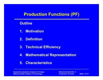 Production Functions (PF) - MIT