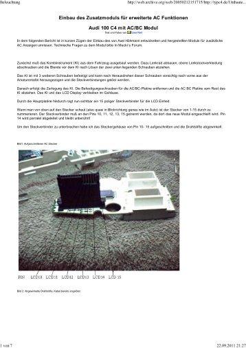 Einbau des Zusatzmoduls für erweiterte AC Funktionen Audi 100 C4 ...