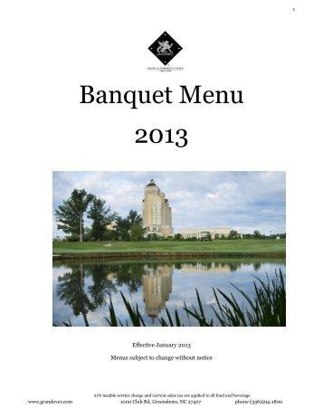 Banquet Menu 2013 - Grandover Resort and Conference Center