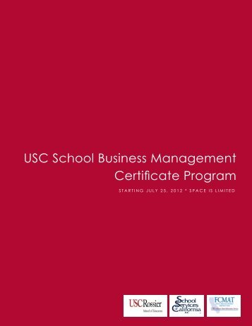 uSc School Business management Certificate Program