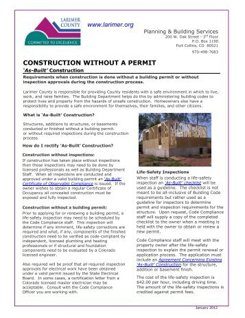 Construction Without A Permit - Larimer County