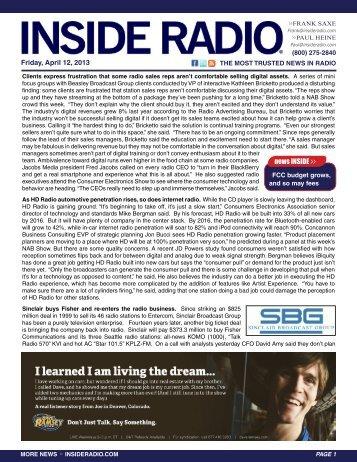 news INSIDE >> Friday, April 12, 2013