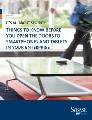 It's All About securIty: thIngs to Know before you open the ... - Sybase