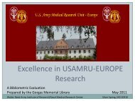 Excellence in USAMRU-EUROPE Research - Walter Reed Army ...