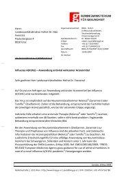 Influenza A(H1N1) – Anwendung antiviral wirksamer Arzneimittel