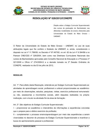 RESOLUÇÃO Nº 028/2012/CONEPE - UNEMAT