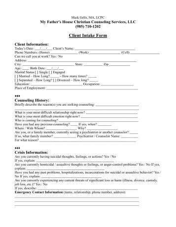 Child EUR Client Intake Form