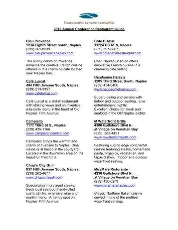Restaurants Guide 2012