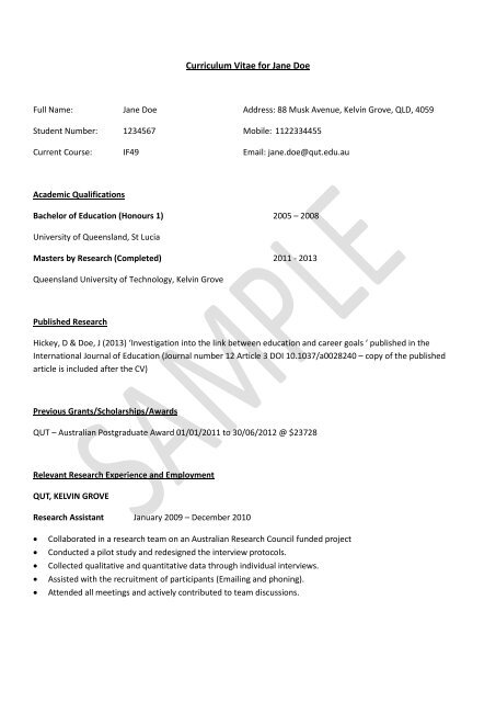 Example Curriculum Vitae Cv For Research Degree Applicants Qut