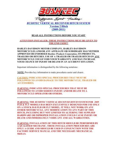 Version 2 harley-davidsonâ® hitch installation guide bushtec.