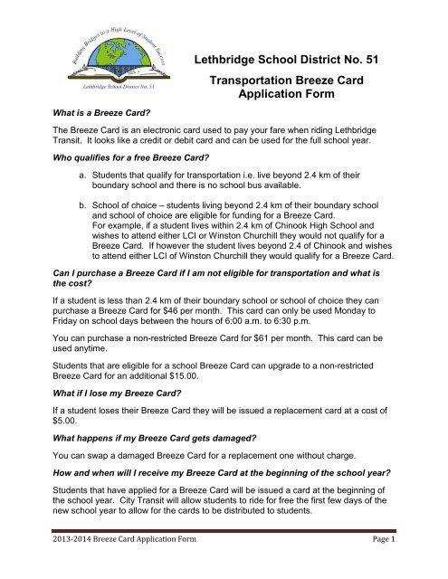 Breeze Card Application Form Lethbridge School District No 51