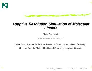 Adaptive Resolution Simulation of Molecular Liquids - Laboratory for ...