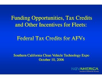 Funding Opportunities, Tax C and Other Incentives for Flee Federal ...