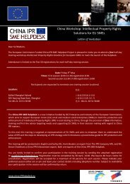 China Workshop: Intellectual Property Rights Solutions for EU SMEs