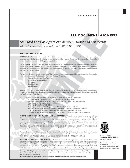Aia Document A101 1997 Standard Form Of Agreement Wvnet