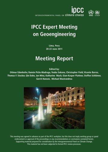 IPCC Expert Meeting on Geoengineering - IPCC - Working Group I
