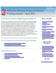 IDSA Funding Update to Congress (PDF) - Infectious Diseases ...