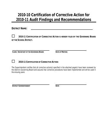 2010-10 Certification of Corrective Action for 2010-11 Audit Findings ...