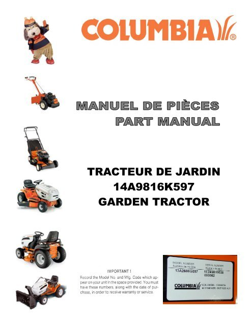 tracteur de jardin 14a9816k597 garden tractor columbia. Black Bedroom Furniture Sets. Home Design Ideas